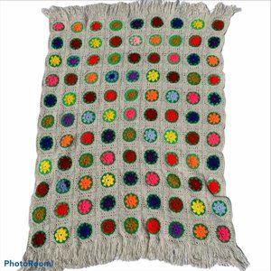 Vintage Handmade Boho Crochet Granny Square Fringe